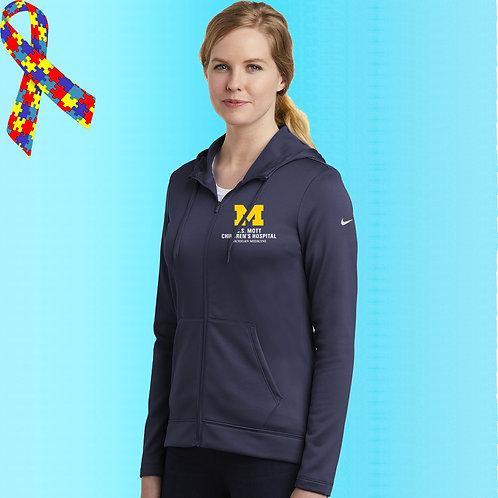 Ladies Nike Embroidered C.S. Mott Childrens Hospital Zip Hoodie