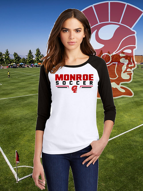 Monroe Soccer - Ladies Raglan 3/4 Sleeve