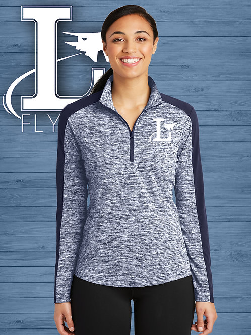 Ladies Electric Heather Colorblock 1/4-Zip Pullover