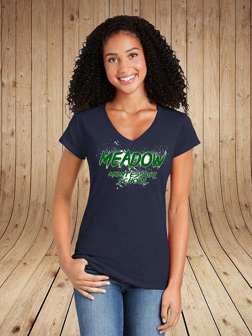Meadow Montessori - Ladies V-Neck Tee - Splatter Logo