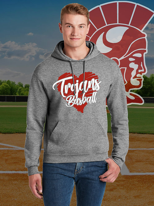 MHS Spirit - Trojan Baseball Heart Hoodie