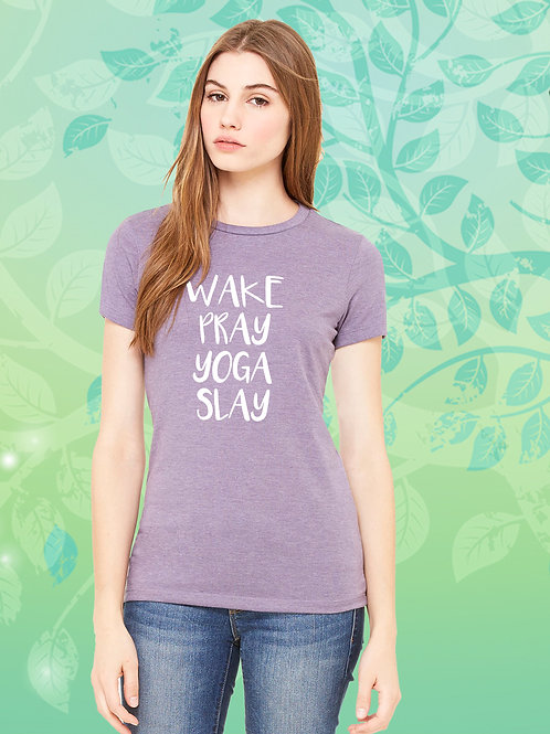 Wake, Pray, Yoga, Saly Ladies Tee