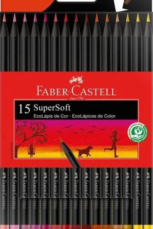 Lápis de Cor C/ 15 Cores Quentes SuperSoft - FABER-CASTELL
