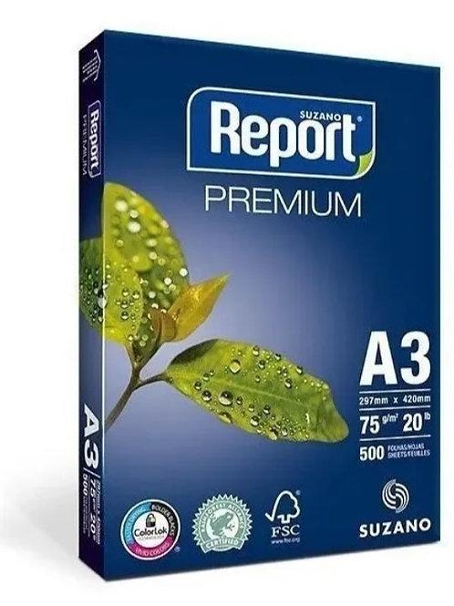 Sulfite A3 Branco 75g C/ 500 FLS - REPORT PREMIUM