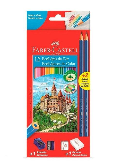 EcoLápis de Cor 12 Cores + 2 EcoLápis Grafite - FABER CASTELL