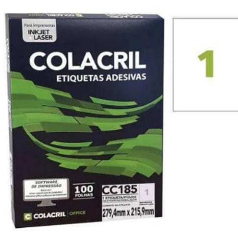 Etiqueta Carta C/100 FLS 279.4 X 215 REF: CC185 - COLACRIL