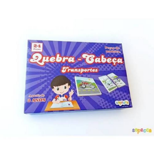 Jogo Quebra-Cabeça Transportes C/ 24 Peças - SOPECCA