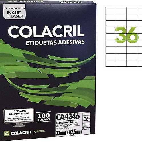 Etiqueta A4 com 100 Folhas REF: CA4346 - COLACRIL