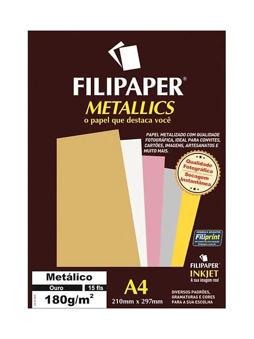 Papel Metálico A4 180g C/ 15 Folhas - FILIPERSON