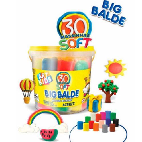 Big Balde C/ 30 Massinhas Soft para Modelar - ACRILEX