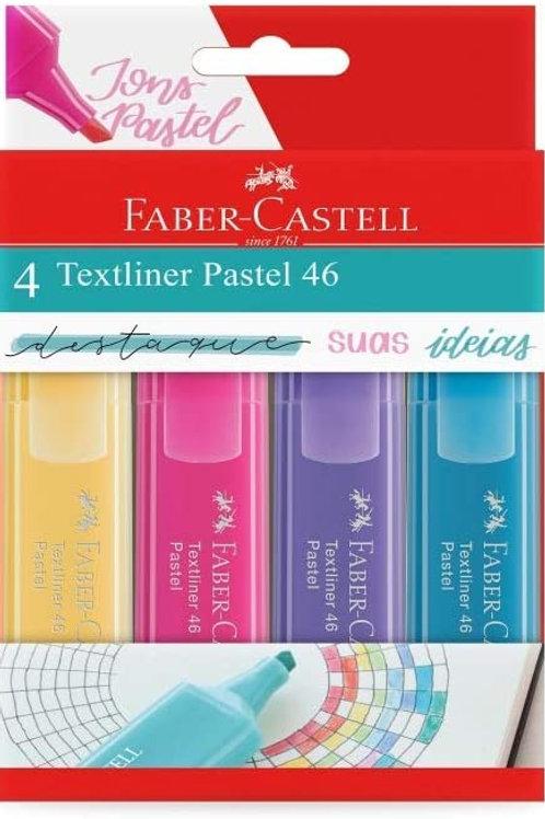 Marca Texto TextiLiner C/ 4 Cores Pastel - Faber Castell