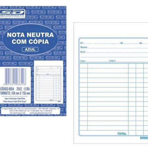 Nota Neutra C/Cópia 25x2 Folhas 1/36 - SÃO DOMINGOS