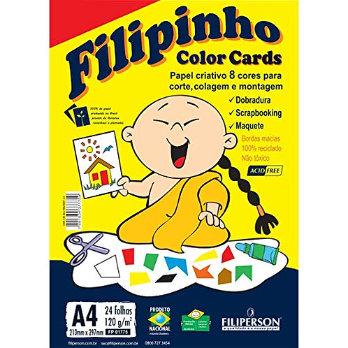 Papel Color Cards 8 Cores 120g A4 Filipinho - FILIPERSON