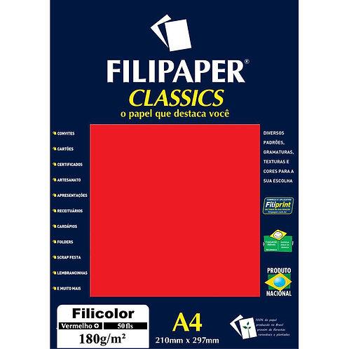 Papel Filicolor A4 180g Vermelho C/50 Folhas - FILIPERSON