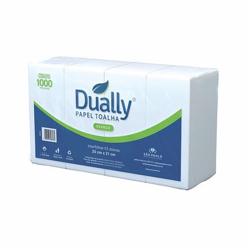 Papel Toalha de Mão C/1000 FLS Interfolhas Branco - DUALLY