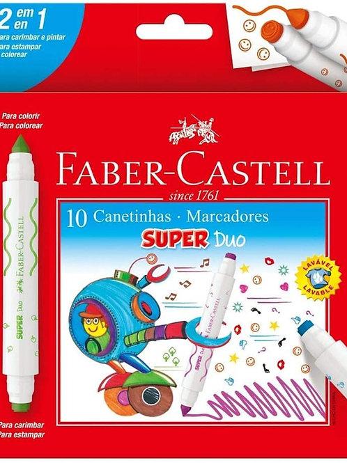 Canetinha Hidrográfica C/ Carimbo 10 Cores Super Duo - FABER CASTELL