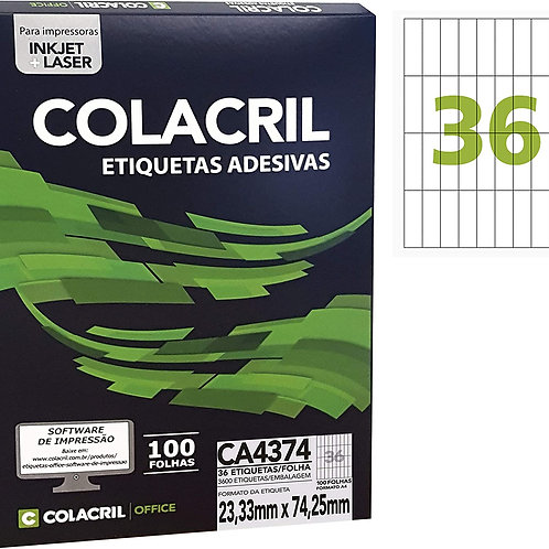 Etiqueta A4 com 100 Folhas REF: CA4374 - COLACRIL