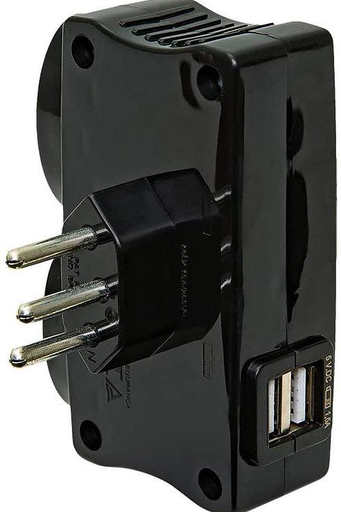 Carregador 2 Tomadas +2 USB - DANEVA