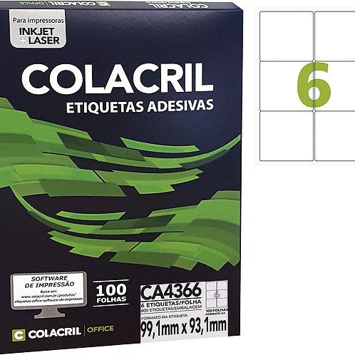 Etiqueta A4 com 100 Folhas REF: CA4366 - COLACRIL