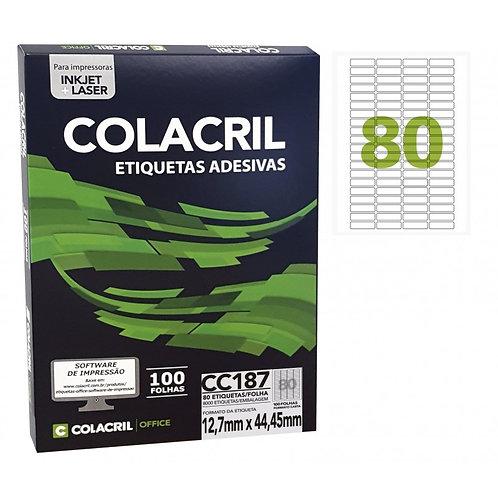 Etiqueta Carta com 100 Folhas REF: CC187 - COLACRIL