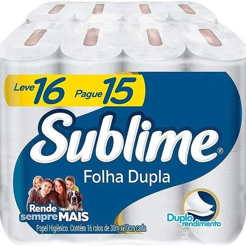 Papel Higiênico 16 Rolos 30mx10cm Folha Dupla - SUBLIME