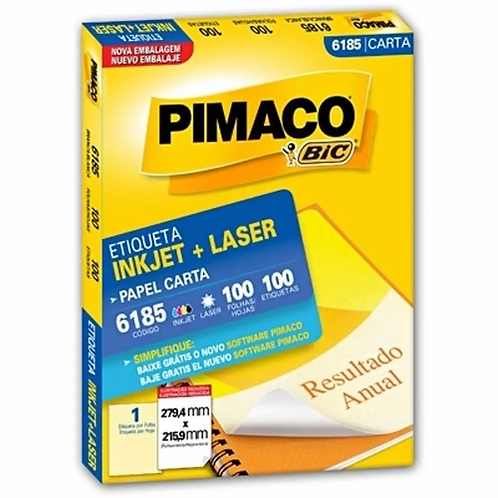 Etiqueta Carta 100 Folhas REF: 6185 - PIMACO