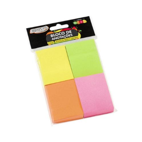 Bloco Adesivo Neon 38X50 C/ 4 Blocos de 100 Folhas - BRW