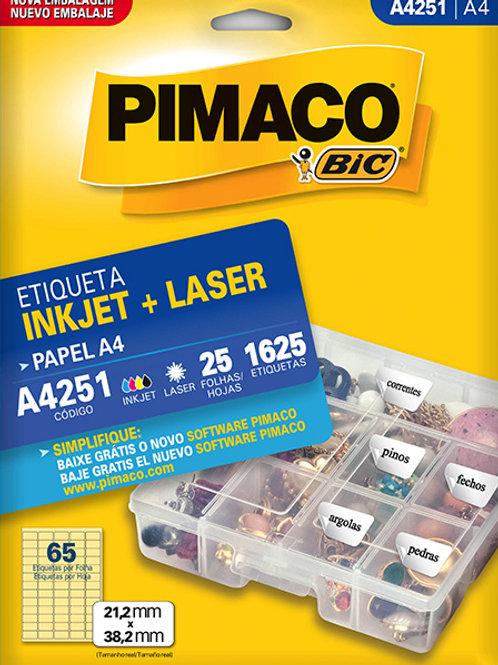 Etiqueta A4 25 Folhas REF: A4251- PIMACO