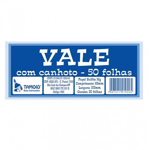 Vale C/ 50 Folhas - TAMOIO