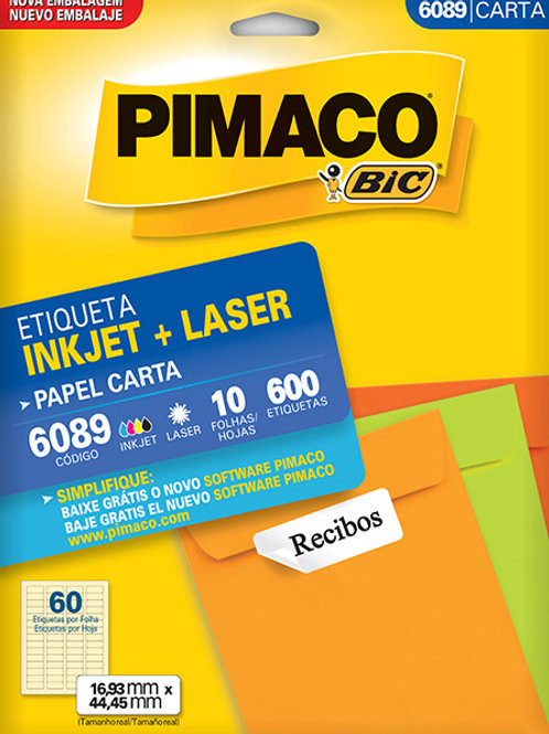 Etiqueta Carta 10 Folhas REF: 6089 - PIMACO