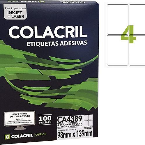 Etiqueta A4 com 100 Folhas REF: CA4389 - COLACRIL