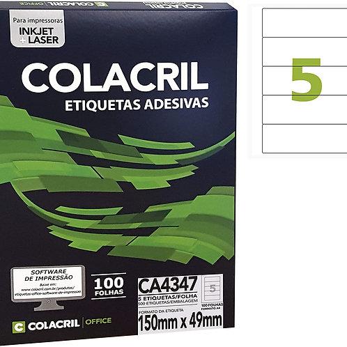 Etiqueta A4 com 100 Folhas REF: CA4347 - COLACRIL