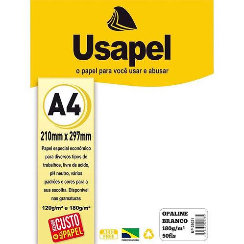 Papel Opaline A4 180g Branco C/ 50 Folhas  - USAPEL