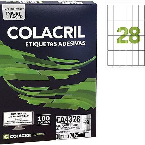 Etiqueta A4 com 100 Folhas REF: CA4328 - COLACRIL