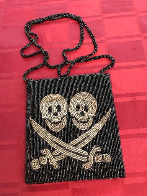 Beaded Gold or Silver BRK Logo Evening Bag