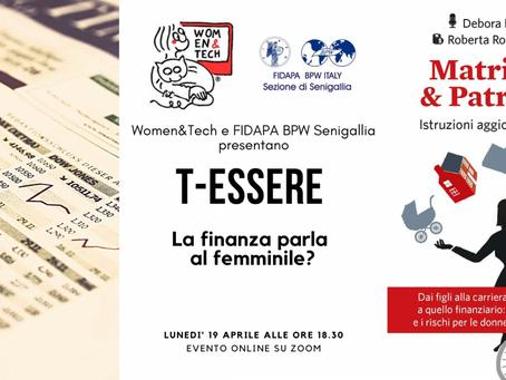 T-Essere: la finanza parla al femminile? Appuntamento online il 19 aprile