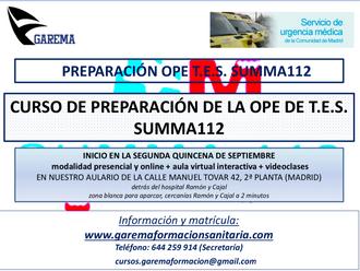 Curso de Preparación para la Oposición del SUMMA 112 en la categoría de TES. GAREMA.