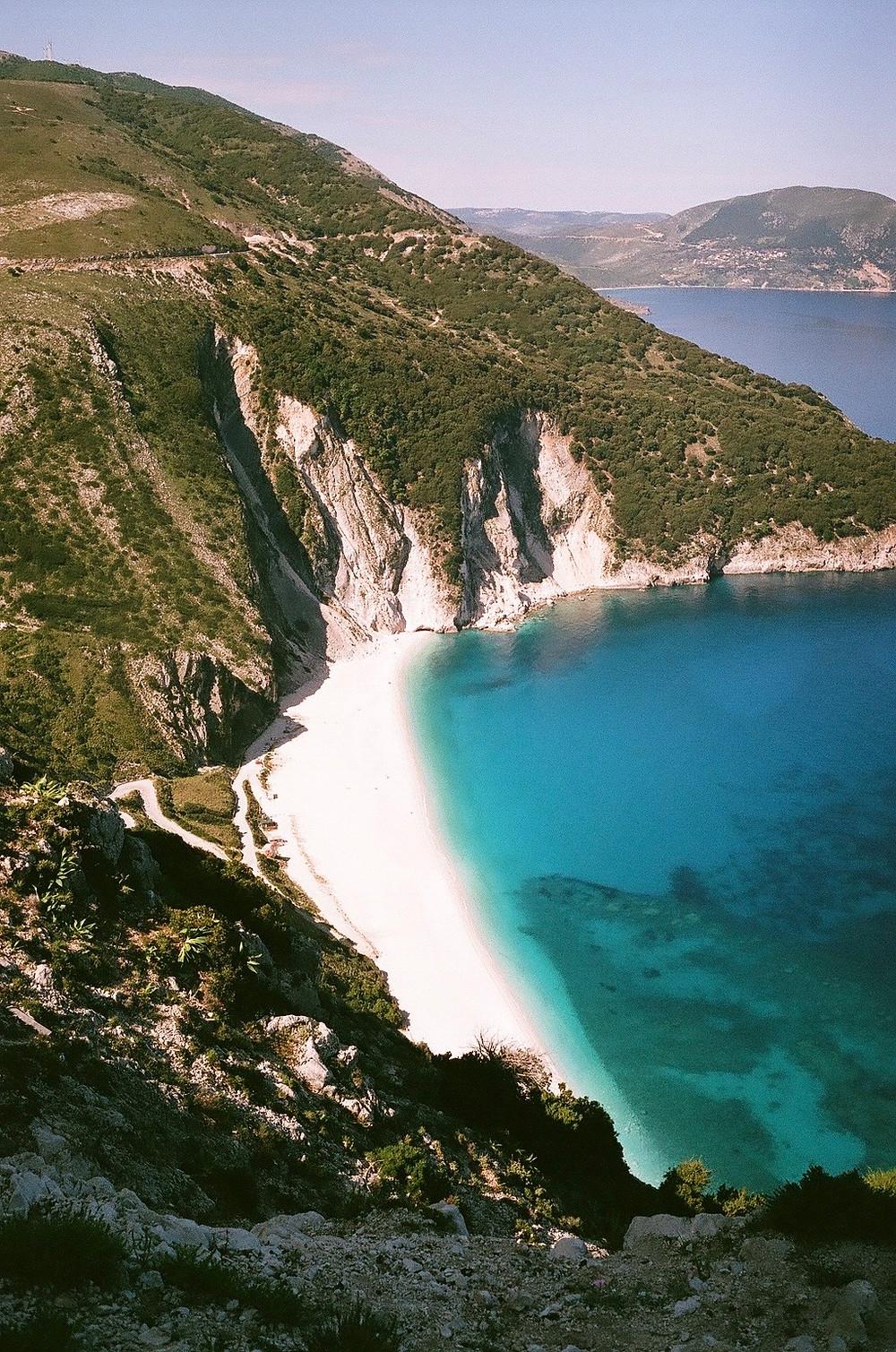 Aerial view of myrtos beach in kefalonia greece