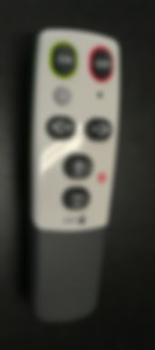 Image shows a simple universal TV remote. It has a total of 7 buttions; on, off, volume up, volume down, channel next, chnnel previous and AV.