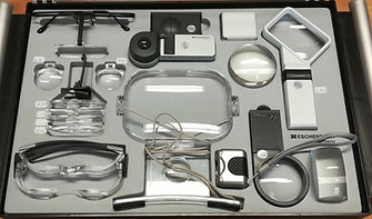 Thisimage shows a wide range of magnification equipment, both for cloe up and distance magnification. It includes LED magnifiers, non LED magnifiers, MaxTV glasses, dome magnifiers and monoculars.