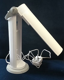 This third image of the desk lamp shows it partially unfolded.
