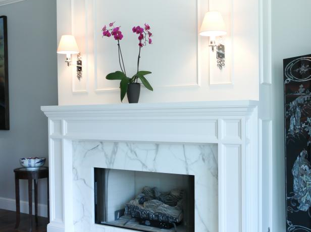 Striking Marble Fireplace in Transitiona