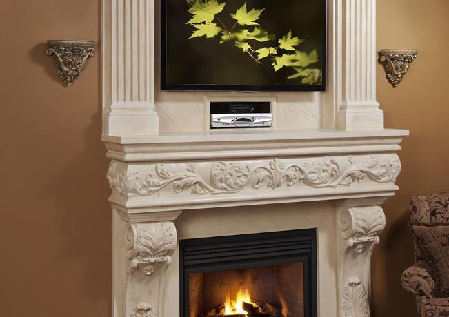 Venetian Classic Stone Fireplace Mantel.
