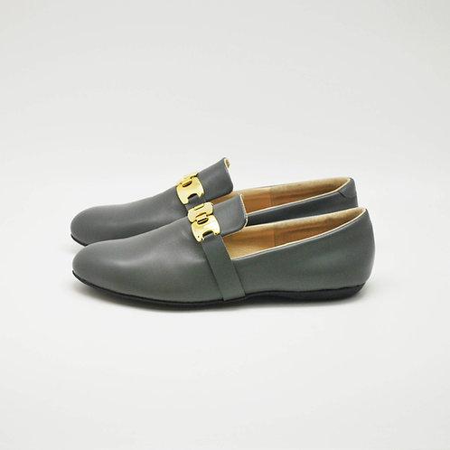 Gold lofer shoes