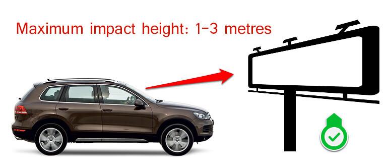Maksimaalne reklaampinna kõrgus 1-3 meetrit