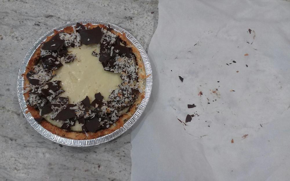 Coconut Cream pie with Macaroon Crust and chocolate bark