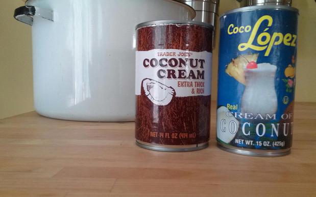 Coconut Cream vs. Cream of Coconut (always read your labels!)