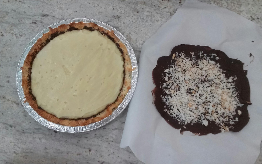 Coconut Macaroon crust filled with coconut cream and some chocolate bark on the side