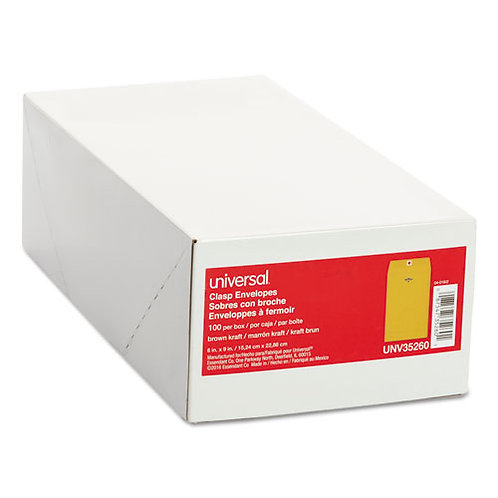 Kraft Clasp Envelope, Center Seam, 28lb, 6 x 9, Brown Kraft, 100/Box