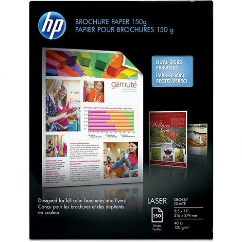 """HP Brochure/Flyer Paper - Letter - 8 1/2"""" x 11"""" - 40 lb Basis Weight - Glossy"""